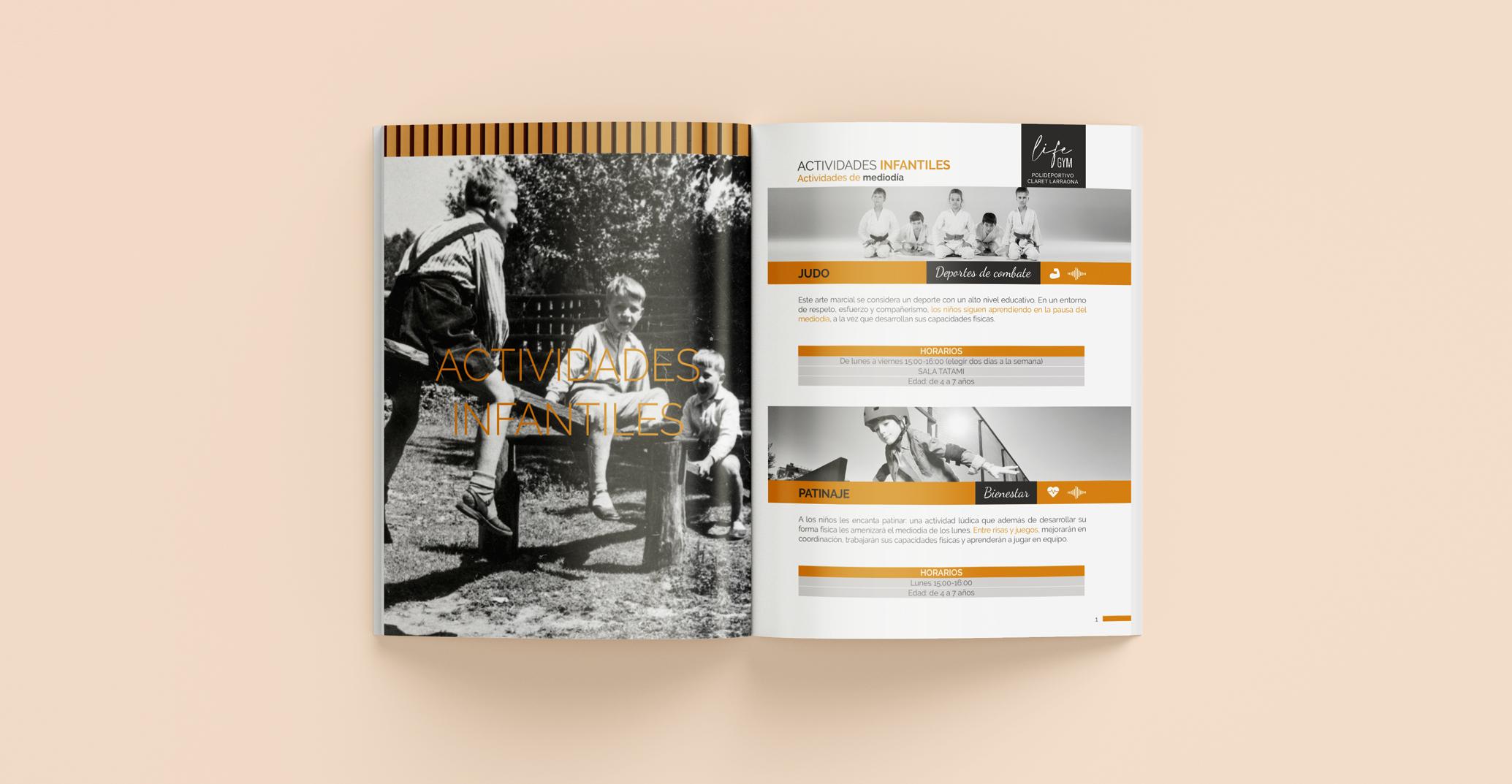 diseño folleto de actividades gimnasio