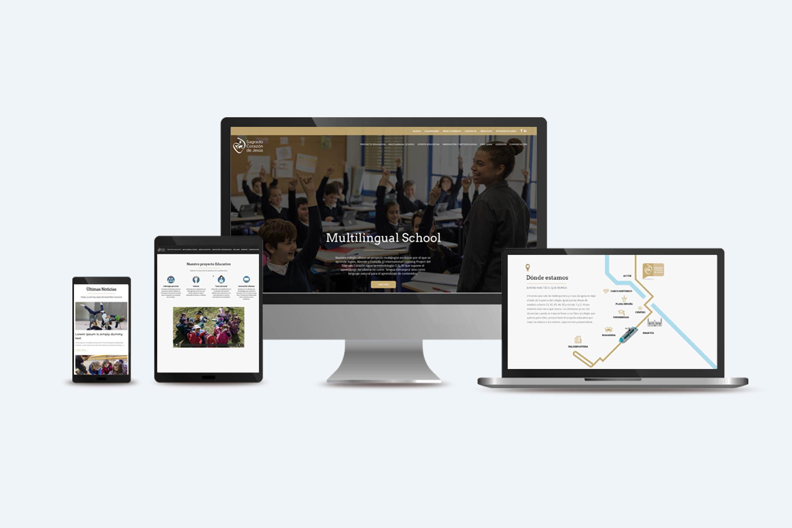 web de un colegio en distintos dispositivos