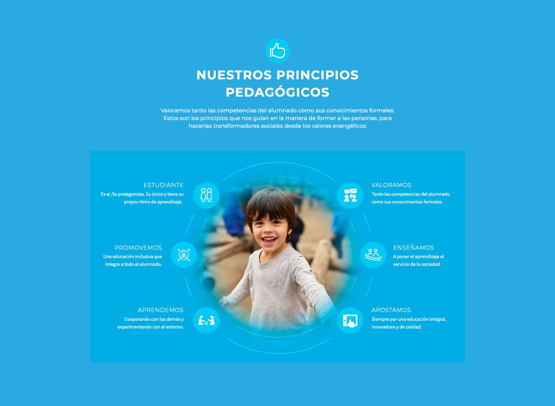 conceptualizacion de valores en la pagina web de un colegio