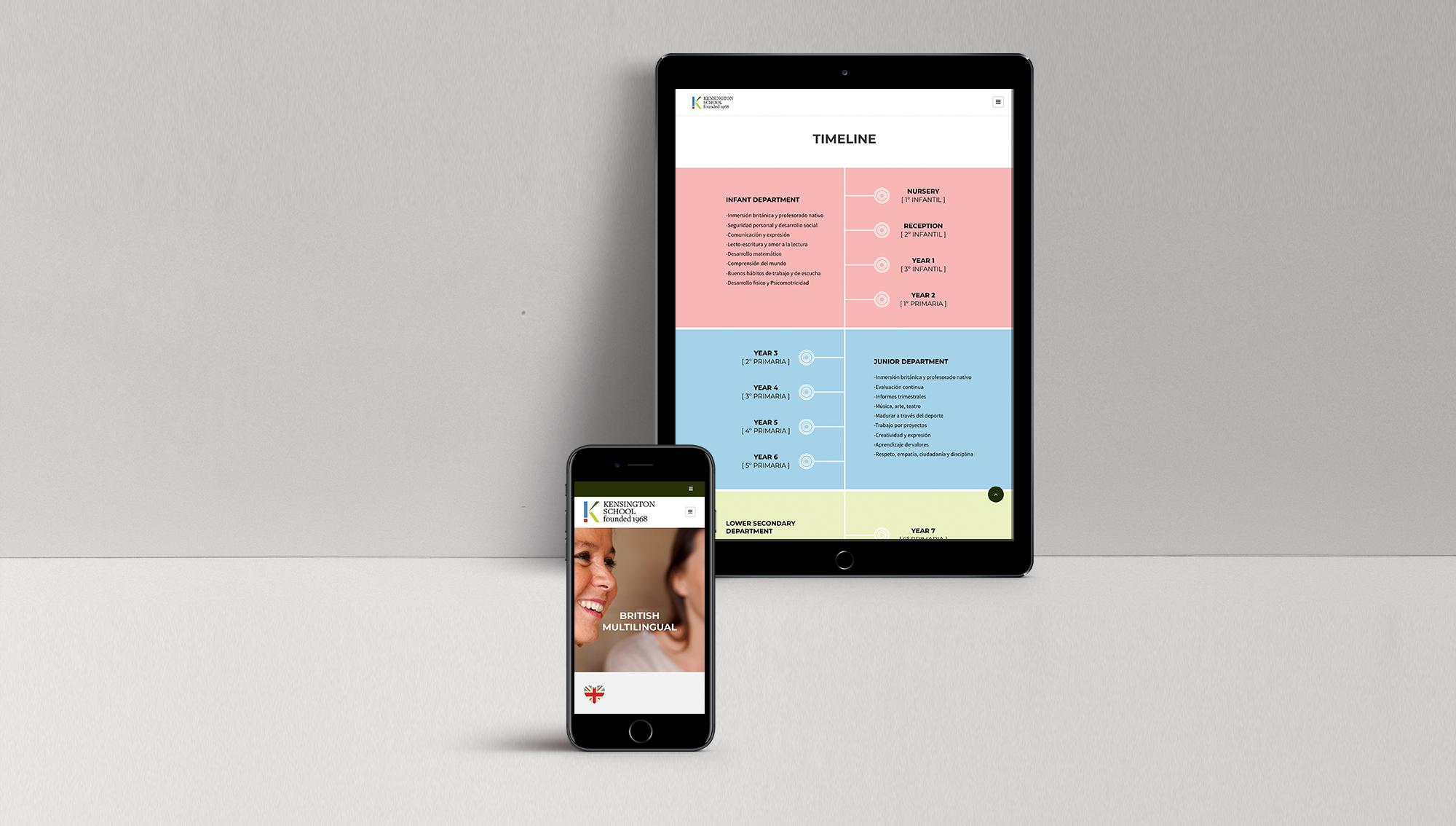 página web de un colegio responsive en un movil y una tablet